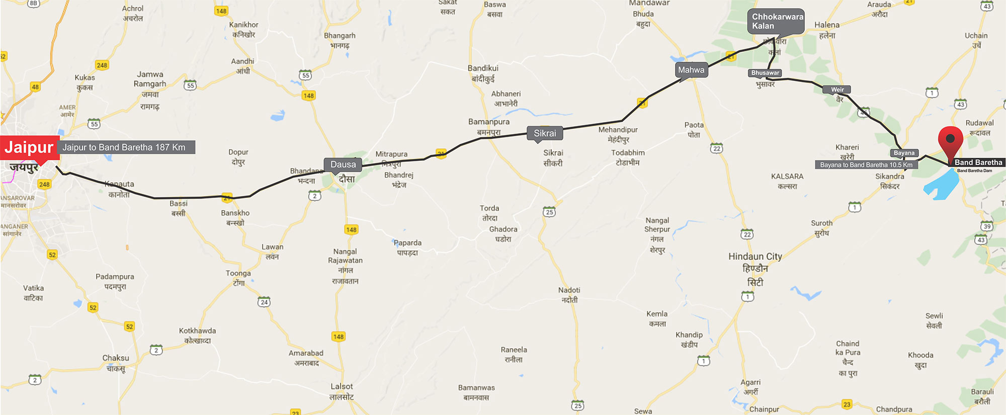 Bharatpur To Band Baretha Map Way