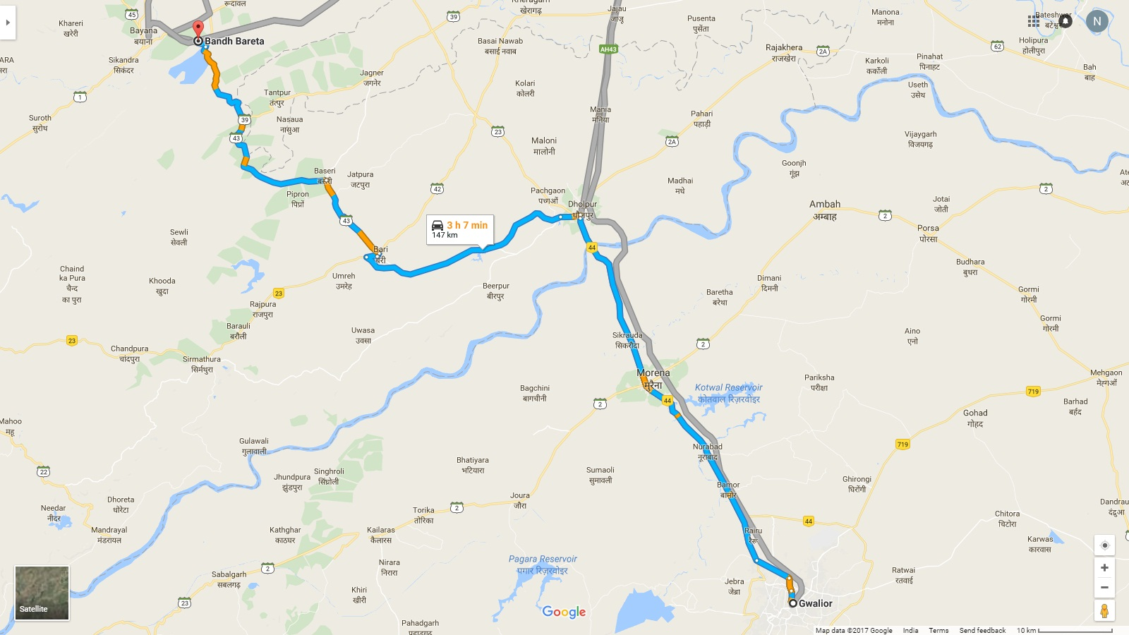 Gwalior To Band Baretha Map Way